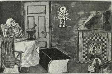 Image from the Wisconsin Medical Recorder (1909). A skeleton sits in a room alone with a gigantic book at its feet.