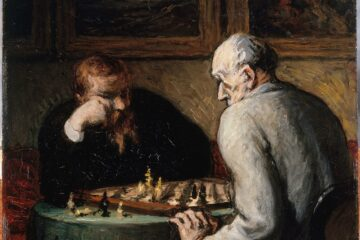 "A painting by french artist Honore Daumier ""The Chess Players"" 1836. Two men nplay chess in a darkened room."