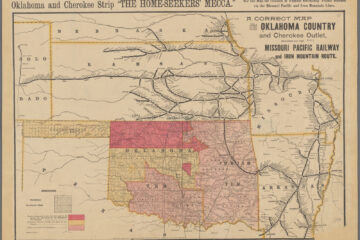 A correct map of the Oklahoma country and Cherokee outlet reached via the Missouri Pacific Railway and Iron Mountain route. 1889. NYPL Digital Collections